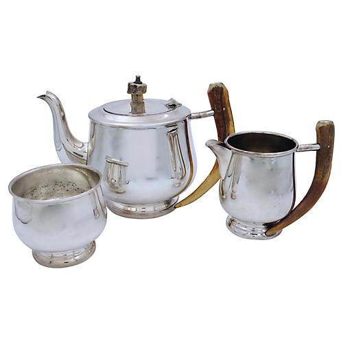 English Horn Handled Tea Set, 3 Pcs