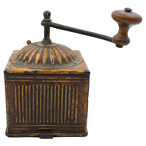 Antique French Tin Coffee Grinder