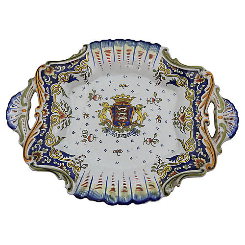French Faience Serving Dish w/ Crest