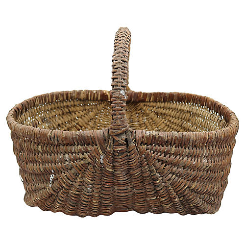 Antique French Market Wicker Basket