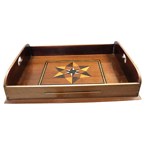 Antique English Inlaid Star Butlers Tray