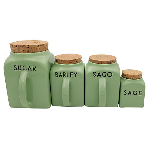 Midcentury Kitchen Canisters, S/4