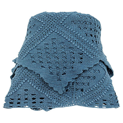 Antique Hand-Made French Blue Coverlet
