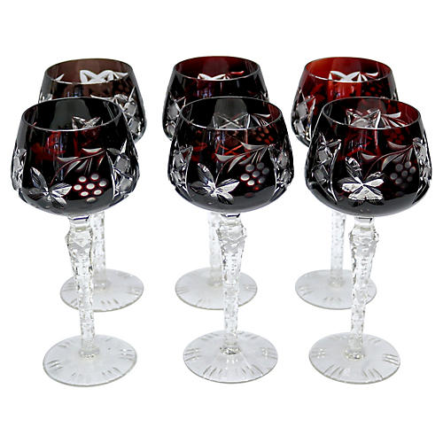 Ruby Crystal Bohemian Wine Stems, S/6
