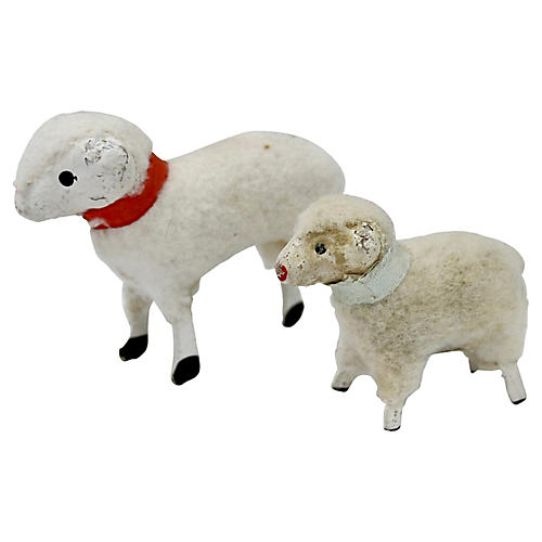 Mid-Century Sheep Holiday Figures, Pair