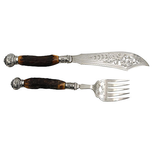 Horn Handled Fish Set w/Crowns, 2 Pcs