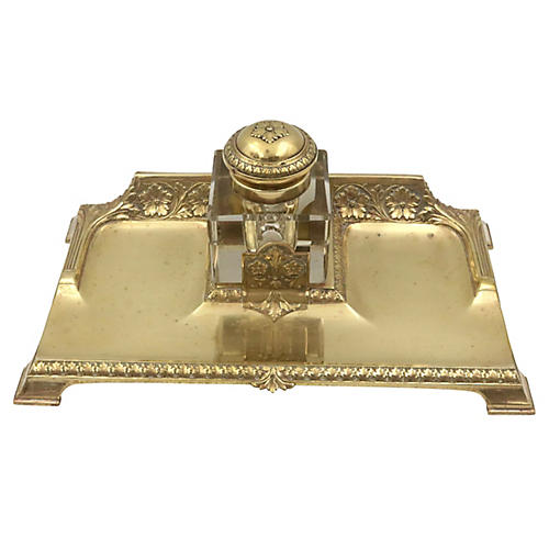 Antique English Brass Desk Tray