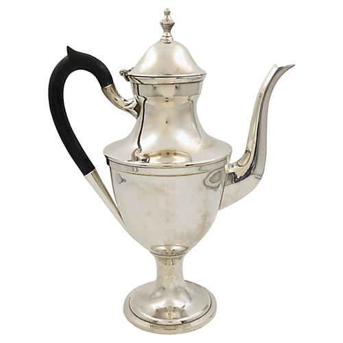 Heavy Hotelware Silver-Plate Coffee Pot