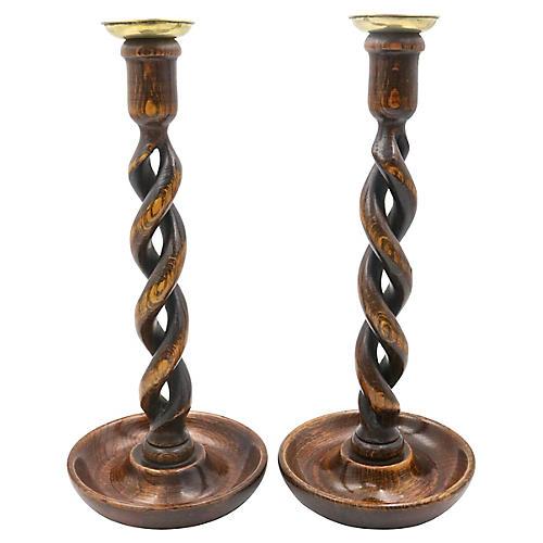 Antique English Oak Candlesticks, Pair