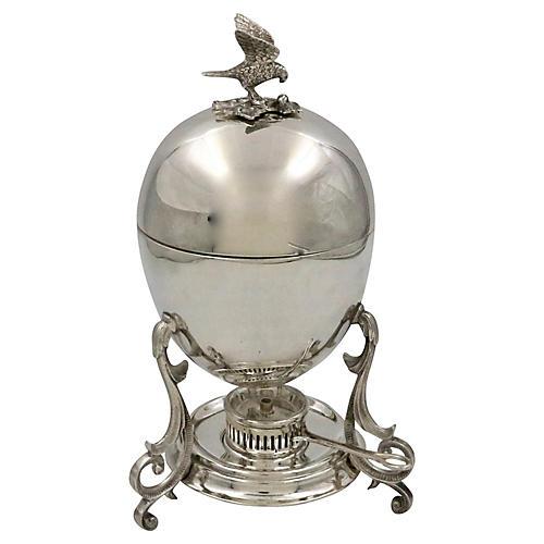 English Silver-Plate Egg Coddler, 3 Pcs