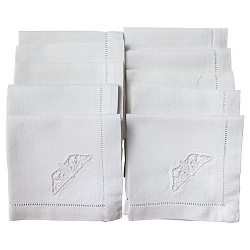 French Linen Cocktail Napkins, S/10