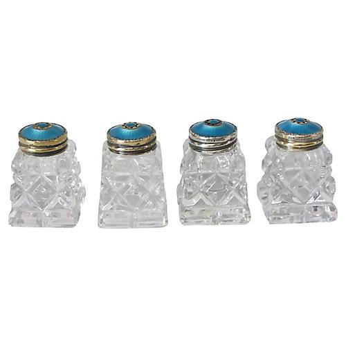 Sterling & Enamel Salt Shakers, S/4