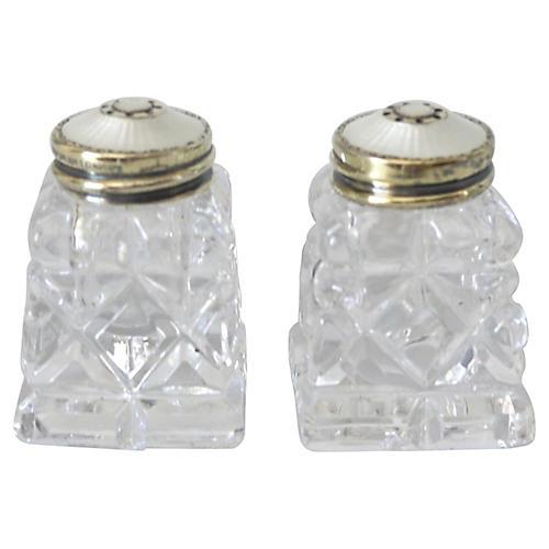 Sterling & Enamel Salt Shakers, S/2