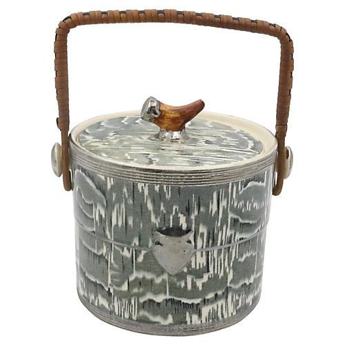 1930s Silver Shield Faux Bois Ice Bucket
