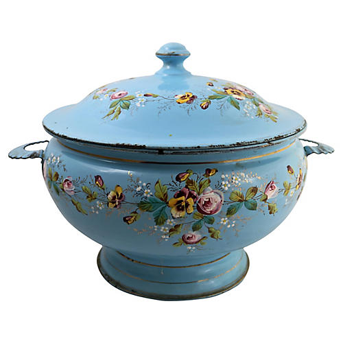 French Enamel Hand-Painted Soup Tureen