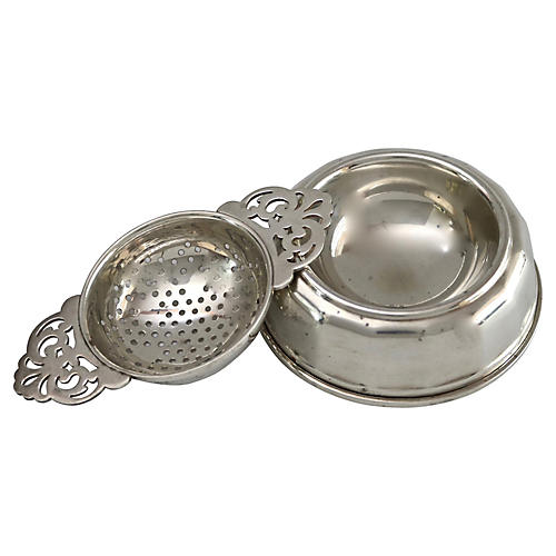 English Sterling Silver Tea Strainer
