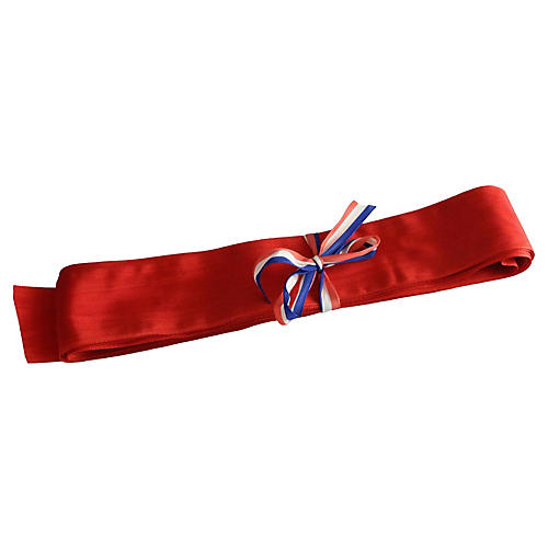 1920s French Red Grosgrain Ribbon, 8 Yd