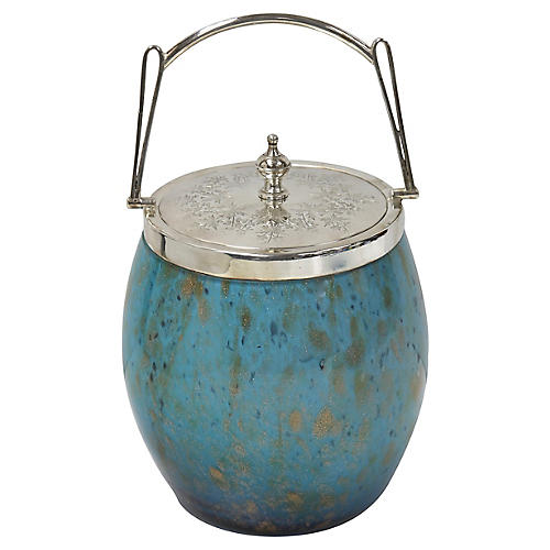 Art Glass & Silver-Plate Ice Bucket