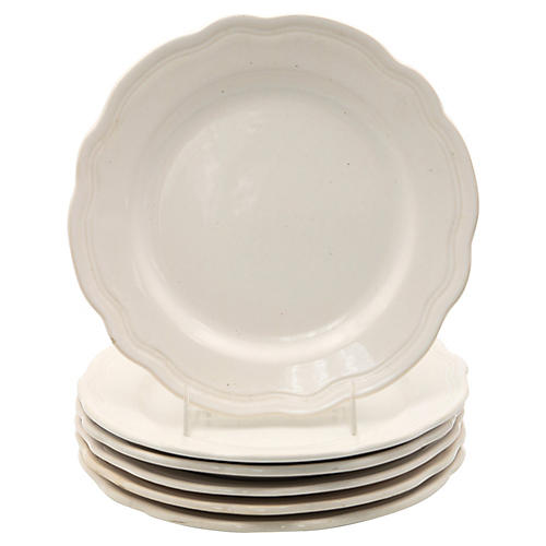 French White Ironstone Salad Plates, S/6