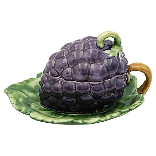 French Majolica Grape Dish