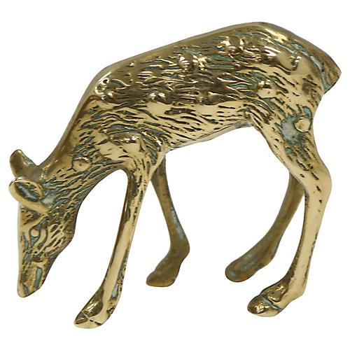 Antique English Brass Deer Figure