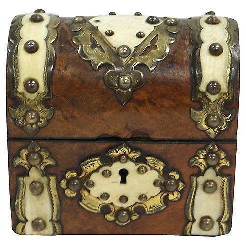English Miniature Antique Dome Lid Box