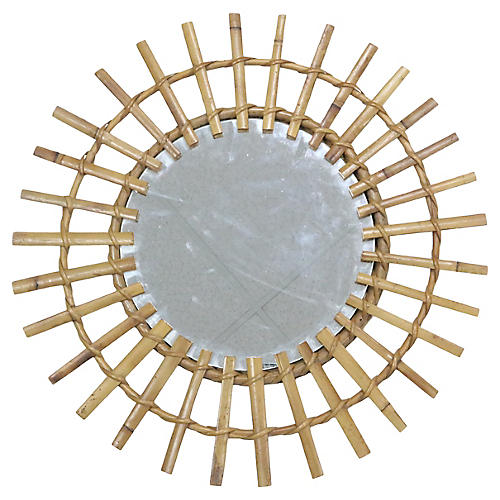 Midcentury French Bamboo Wall Mirror