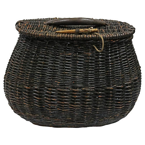Oversized Antique Wicker Fishing Basket