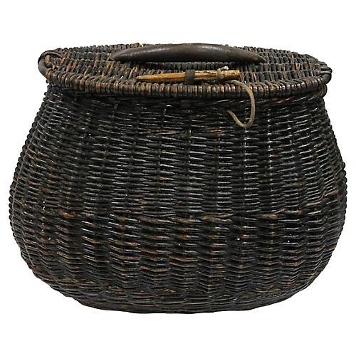 Oversized Antique Wicker Fishing Basket