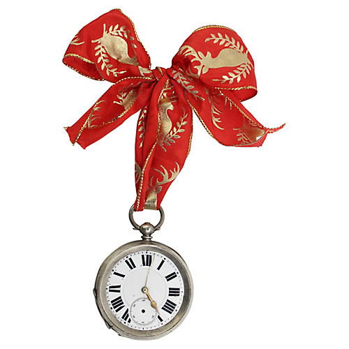 Oversized Sterling Pocket Watch Ornament