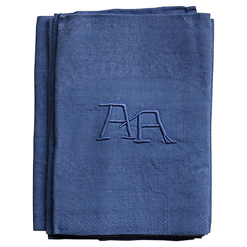 """Antique French Linen """"AA"""" Napkins, S/4"""
