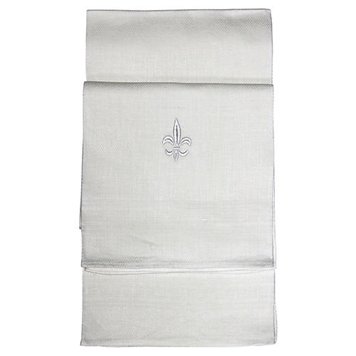 French Linen Fleur De Lis Towels, S/2