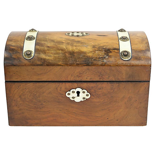 Antique English Burl-Wood Storage Box