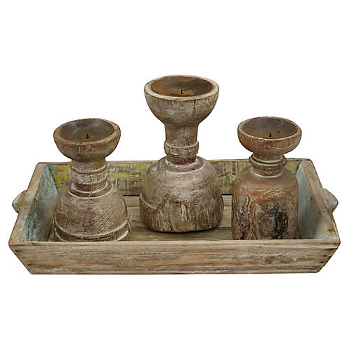 Antique Rustic French Candle Set, 4 Pcs