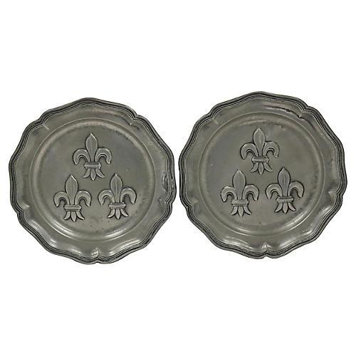 French Pewter Fleur De Lis Plates, Pair