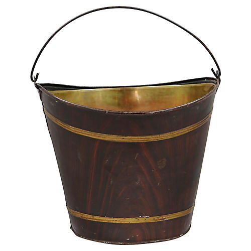 Antique English Faux Wood Bucket & Liner