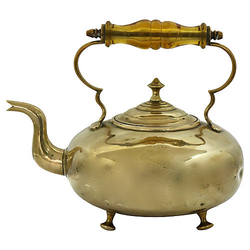 Antique English Brass Teakettle
