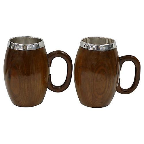 Mid-Century Oak Pint Beer Mugs,Pair