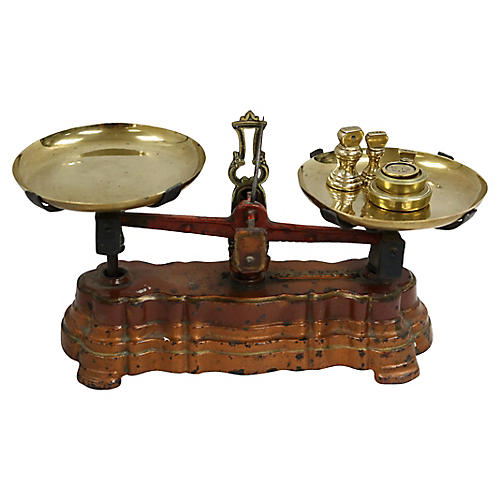 Antique Candy Scale w/ Weights, 7 Pcs