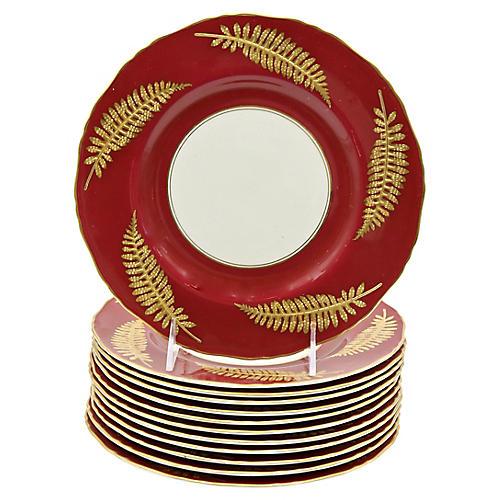 22kt Gold Royal Worcester Plates, S/12