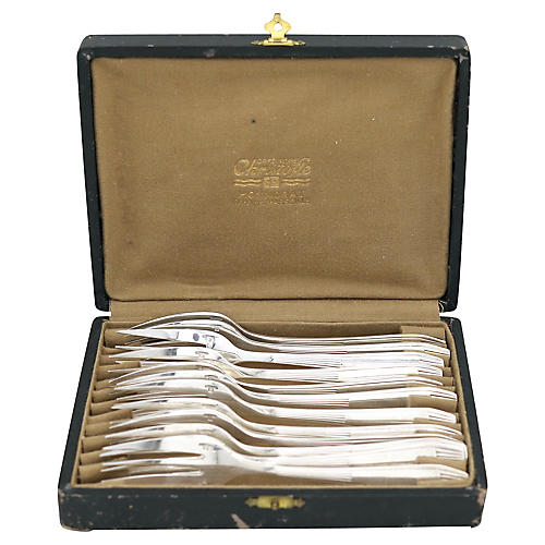 French Deco Christofle Cake Forks, S/12