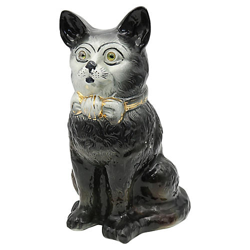 Antique Life Sized Staffordshire Cat