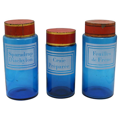 Antique French Apothecary Jars, S/3