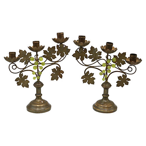 1920s French Bronze Candleholders, Pair