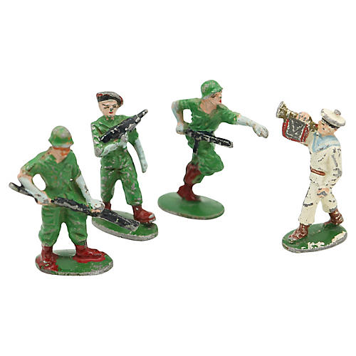 Midcentury French Metal Soldiers, S/5