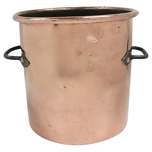 Antique Heavy Copper English Stock Pot