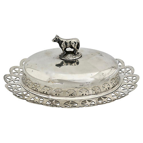 English Silver-Plate Butter Dish w/ Cow