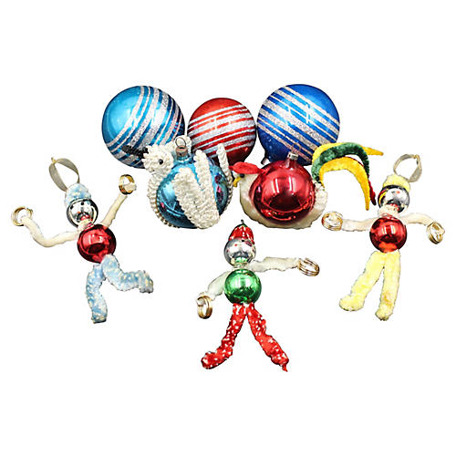 1950s Christmas Ornaments, S/8