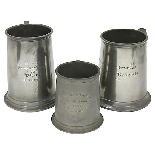 1930s Motor Club Trophy Ale Mugs, S/3