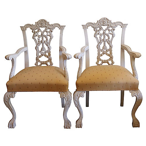 1960s Italian Hand-Carved Chairs, S/2
